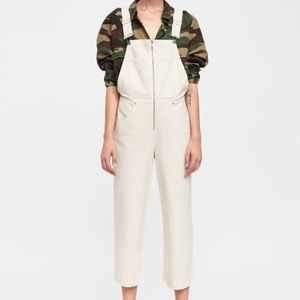 Zara ZW premium Dungaree overall jeans ivory S